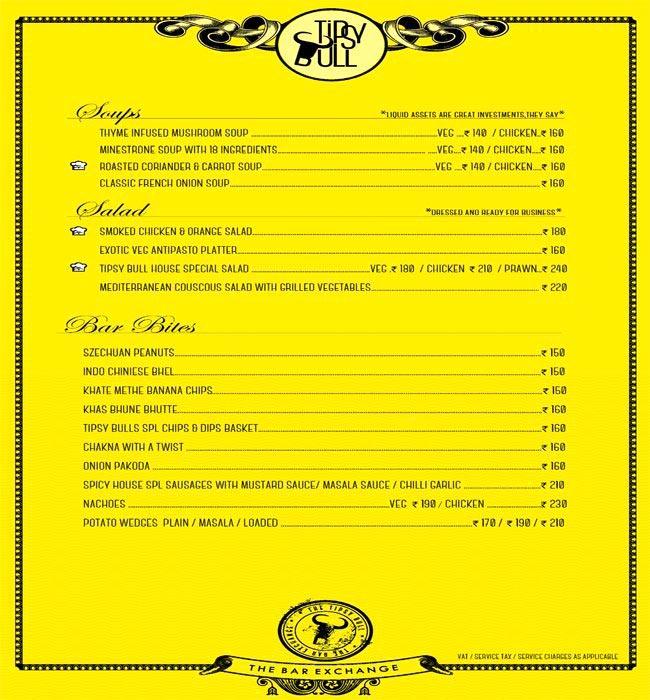 Tipsy Bull menu 1