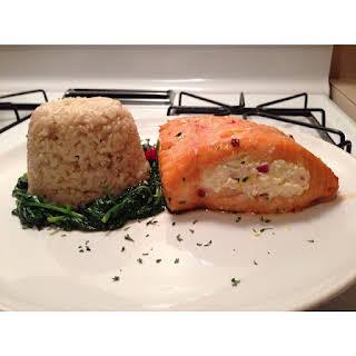 Marinated and Cream Cheese Stuffed Salmon.