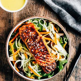 Sesame Salmon Salad with Wasabi Dressing.