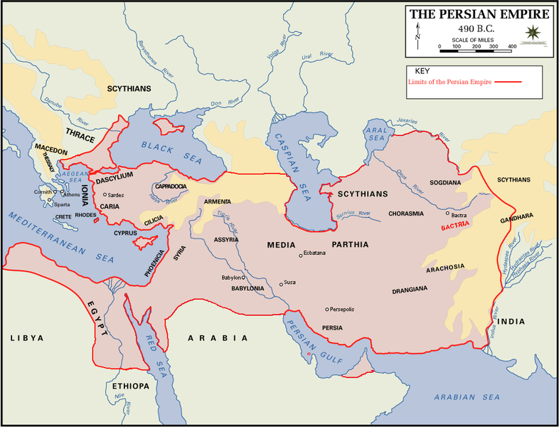 Map of the Persian Empire, stretching from North Africa to eastern Iran, and Anatolia to the shores of the Black Sea.