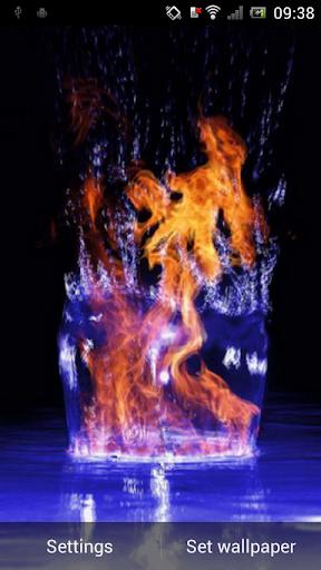 Fire in water live wallpaper