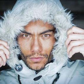 It's Cold Outside... by Nigel Hepplewhite - People Portraits of Men ( studio, model, ringlight, hood, portrait )