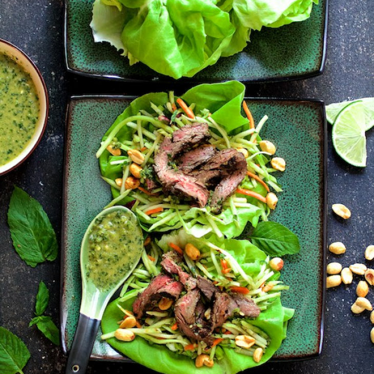 Thai Beef Lettuce Wraps with Mint Dressing and Vegetable Slaw Recipe