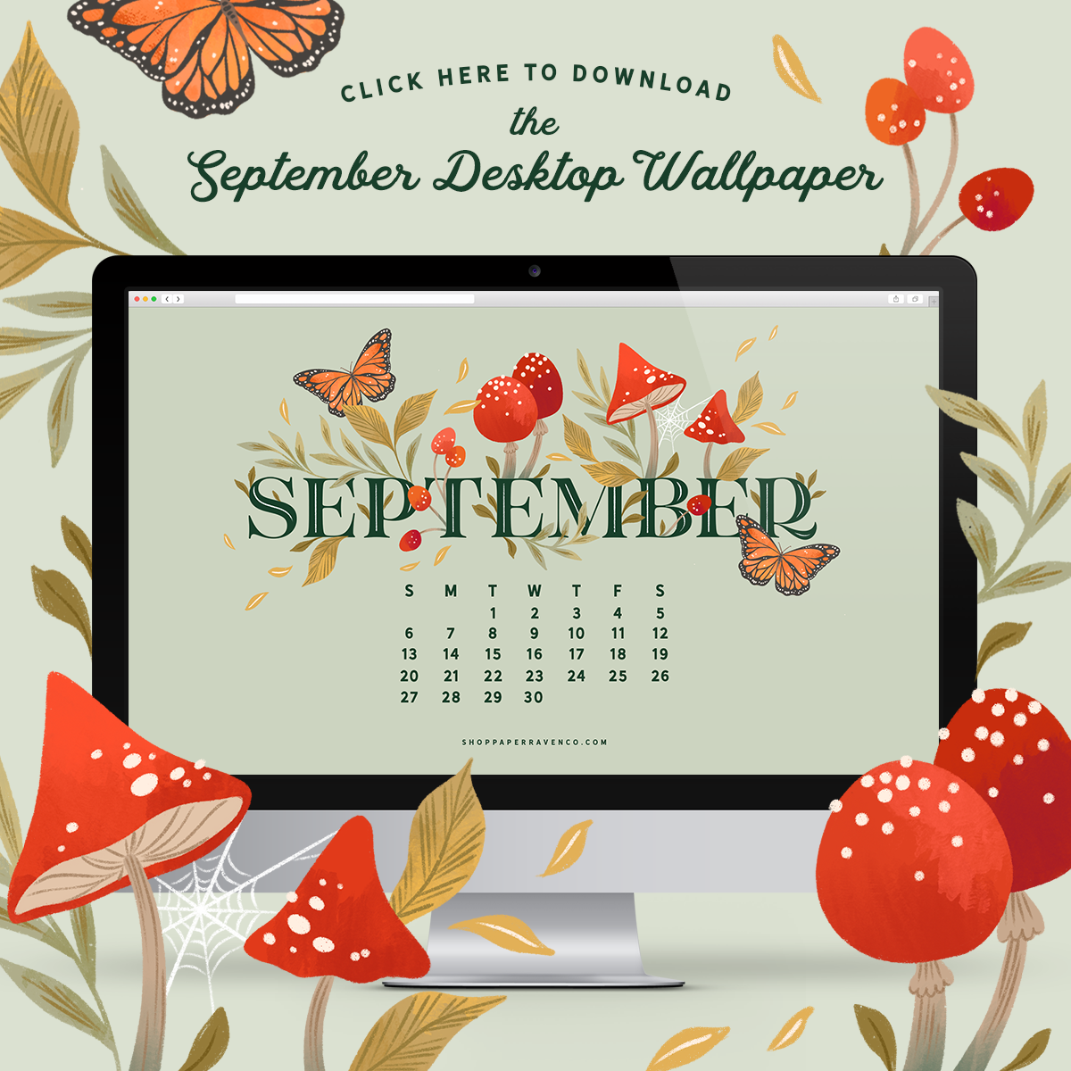 September 2020 Illustrated Desktop Wallpaper by Paper Raven Co. | www.ShopPaperRavenCo.com #dressyourtech #desktopwallpaper #desktopdownload