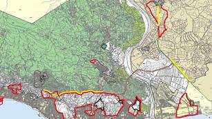 En rojo, las áreas que serán urbanizables en el nuevo PGOU.