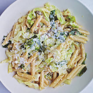 Creamed Savoy Cabbage With Mushrooms And Buckwheat Pasta.