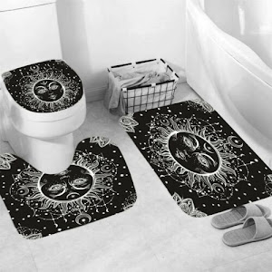 Set pentru baie: perdea, covorase si husa de toaleta, Black Sun