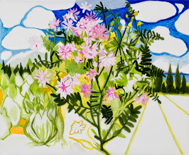 """Photo: Crown Vetch Drawing, pencil and acrylic on mylar, 30"""" x 36"""", 2014, Collection of the artist"""