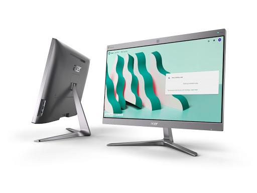 Acer Chromebase for Google Meet angled left