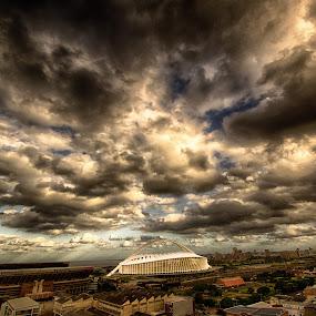 Moses Mabhida Stadium by Marc Crowther - Travel Locations Landmarks ( clouds, moses mabhida, durban, stadium )