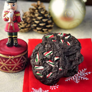 Chocolate Mint Chip Candy Cane Cookies