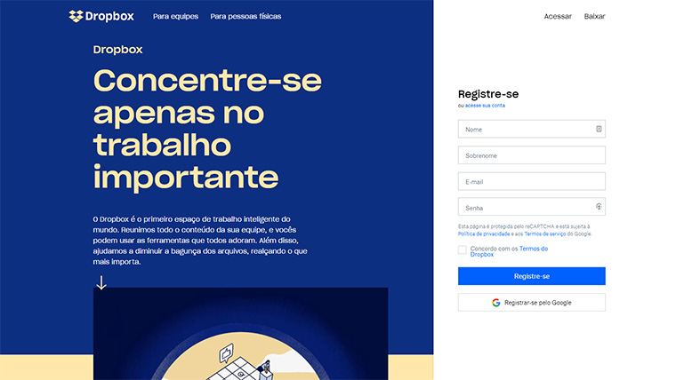 página de registro do dropbox