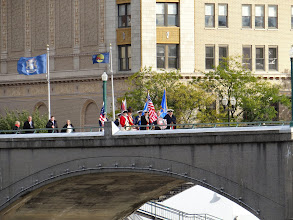 Photo: Combined GLD Color Guard Marching to Gerald R Ford Museum and grave site over foot bridge on Grand River