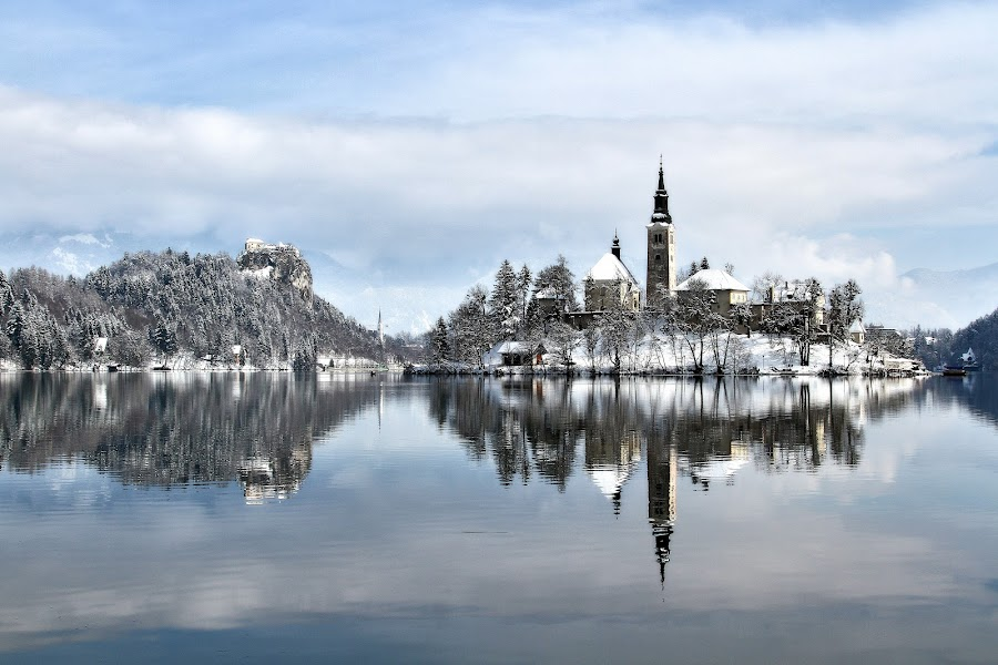 winter panorama at lake bled by Almas Bavcic - Landscapes Travel