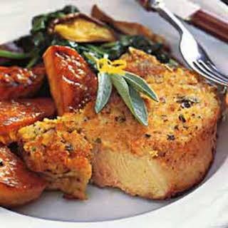 Baked Pork Chops with Parmesan-Sage Crust.