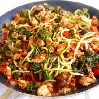 Paleo Mushroom, Kale, and Spiced Ground Chicken Tomato Sauce (GF).
