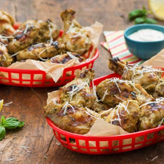Healthy Parmesan Pesto Chicken Wings.