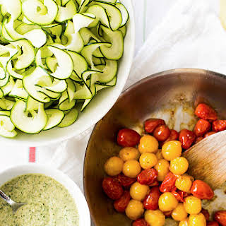 Zucchini Noodles with Creamy Pesto and Burst Tomatoes.