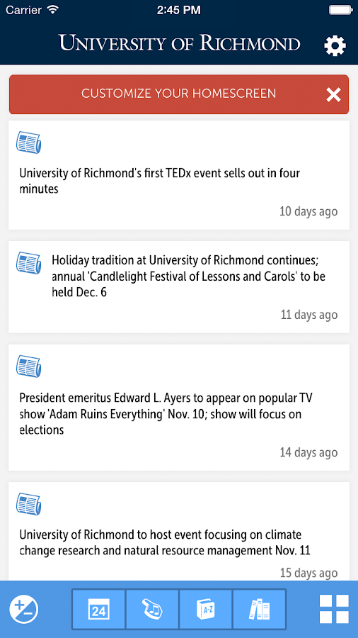 University of Richmond- screenshot