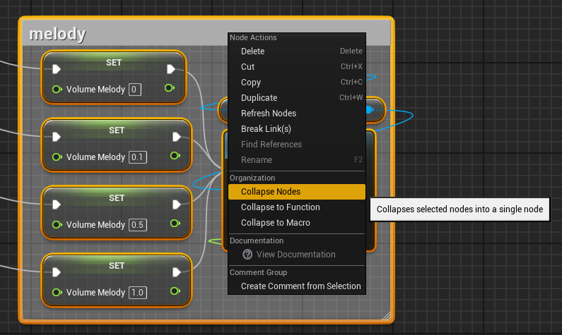 Gamasutra dev janas blog ue4 state based level music system basics then rt click and choose organization collapse nodes a combination of comments and collapsing can help keep things manageable in the blueprint window malvernweather Choice Image