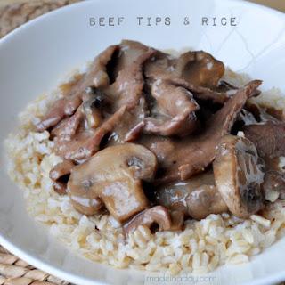 Beef Tips w/ Mushroom Gravy & Rice
