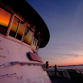 Ferry by Jamie Newton - Transportation Boats ( washington, puget sound, ferry, sunset )