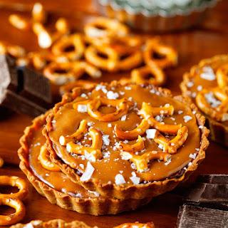 Chocolate Caramel Mini Tarts with Pretzel Crust