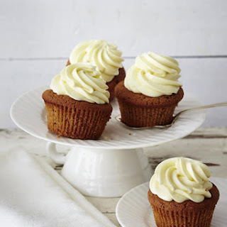 Caramel Chocolate Cupcakes with Mascarpone Frosting.