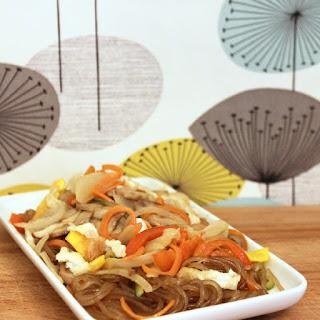 Japchae – Korean glass noodles.