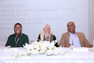 Photo: Submitted by TOPS  Plenary panelists Ange Tingbo, Chief of Party, Nobo Jibon; Marie Cadrin, Chief of Party, PROSHAR; and Monzu Morshed, Deputy Chief of Party, SHOUHARDO II at the Asia Regional Knowledge Sharing Meeting in Dhaka, Bangladesh.