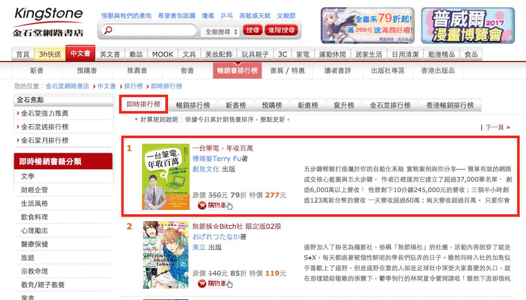 金石堂網路書店暢銷即時榜第一名!
