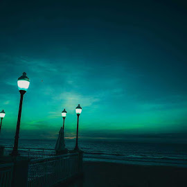 Night Life by Chris Rumphrey - Digital Art Things ( sky, green, lampost, light, night )