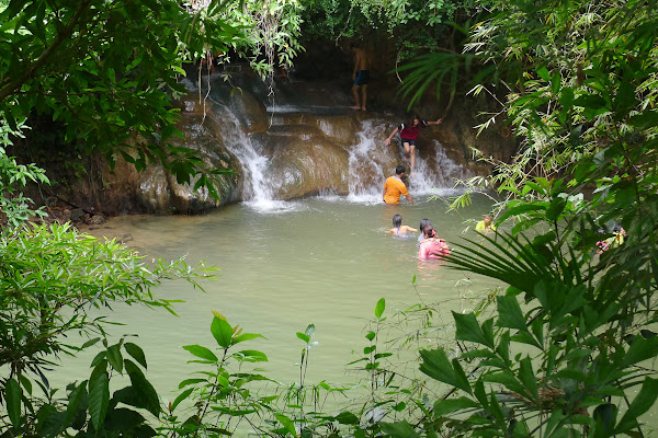Splash in the fresh water stream of Krabi Hot Spring
