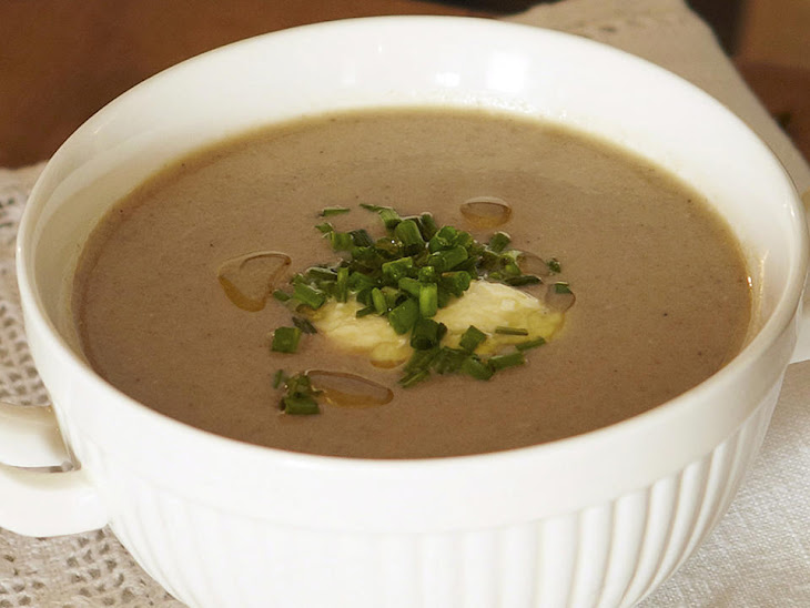 Mushroom Soup with Chives and Truffle Oil Recipe
