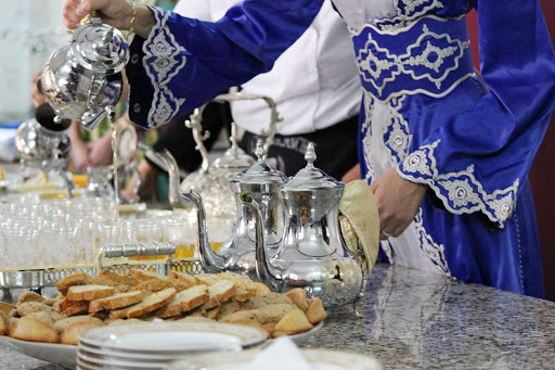 Mint tea and refreshments served in Casablanca during a shore excursion on a Silversea cruise.