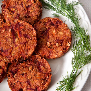 Beetroot and Millet Burgers with Dill Yoghurt.