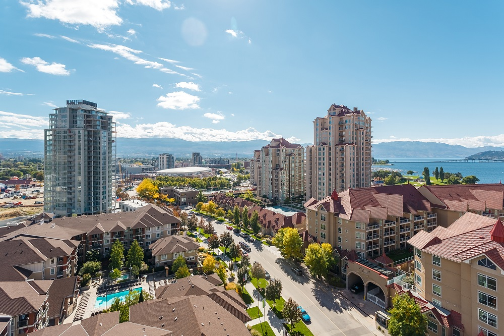 Highrise view of downtown Kelowna, a city with lots of room for investment and building equity in real estate