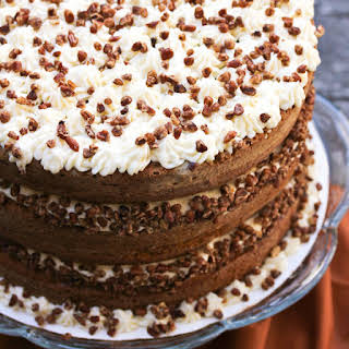 Pumpkin Spice Cake with Maple Frosting.