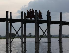 Photo: Year 2 Day 55 -  Monks Silhouetted on U Bein's Bridge in Amarapura