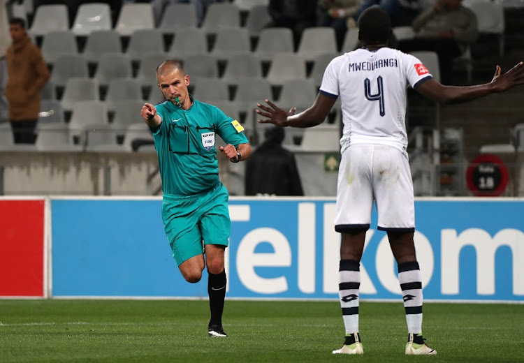 Victor Gomes, Match Referee awards a penalty to Cape Town City FC during the Absa Premiership 2017/18 football match between Cape Town City FC and Platinum Stars at Cape Town Stadium, Cape Town on 23 August 2017.