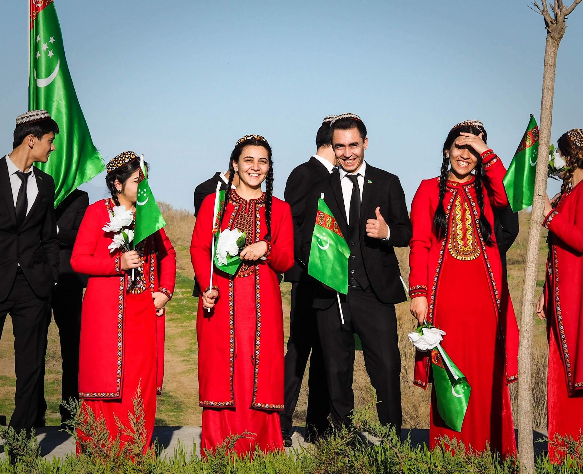 Turkmen students in their school uniform.