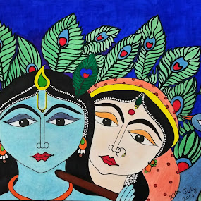 The God of Love : Radha & Krishna by Sangeeta Paul - Drawing All Drawing