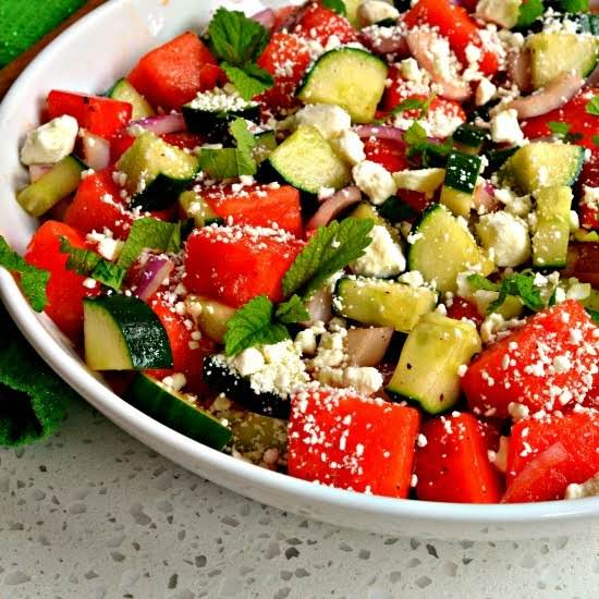 A Simple Tasty Watermelon Salad With Feta Combining The Best Of Salty And Sweet In This Unique Summer Side Dish.