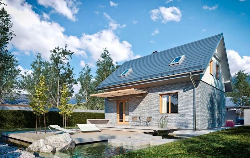 Elegancki dom o nowoczesnej elewacji z poddaszem użytkowym