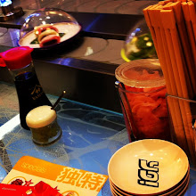 Photo: Dinner at Heathrow on the way home. Conveyer belt sushi!