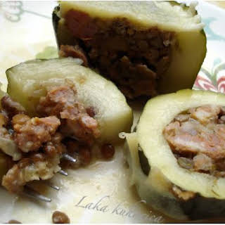 Zucchini stuffed with rice, lentils, Parmesan cheese and fresh sausage.