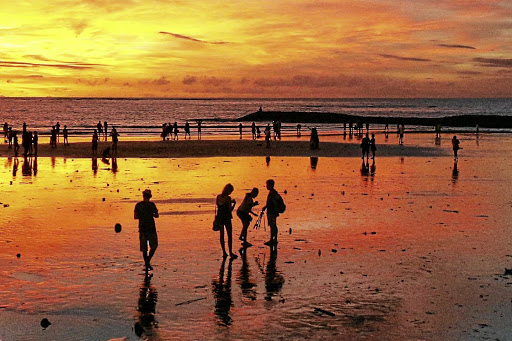 Sunset   in Kuta Beach, Bali, one of the value-for-money destinations South Africans love to visit.