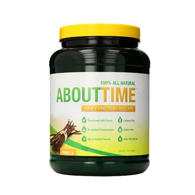 proteina whey protein about time sabor a vainilla 908g
