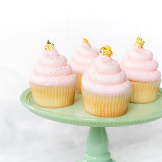 Pink and Gold Vanilla Cupcakes.