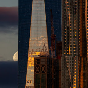 Setting Moon by VAM Photography - Buildings & Architecture Other Exteriors ( moon, exterior, weather, nyc, architecture )